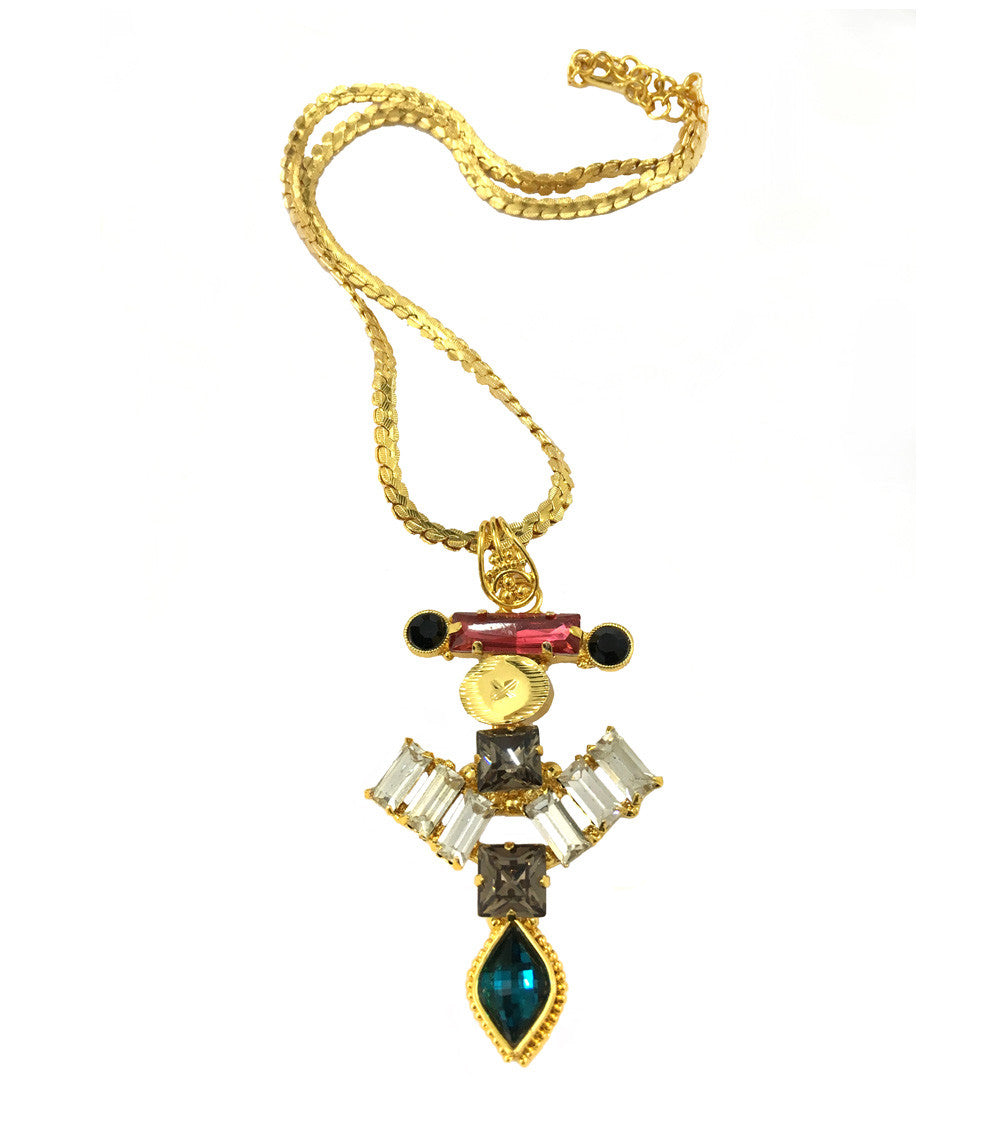 Multicoloured Brass Handmade Necklace With Pendant