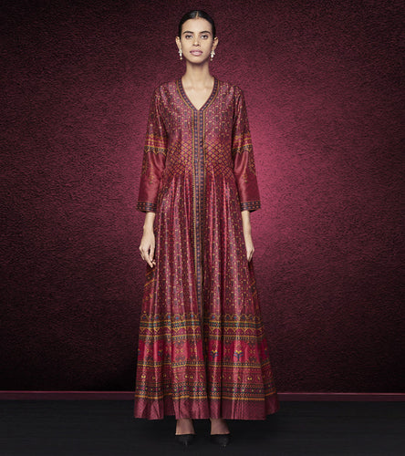 Wine Silk Printed Ruchya Jacket