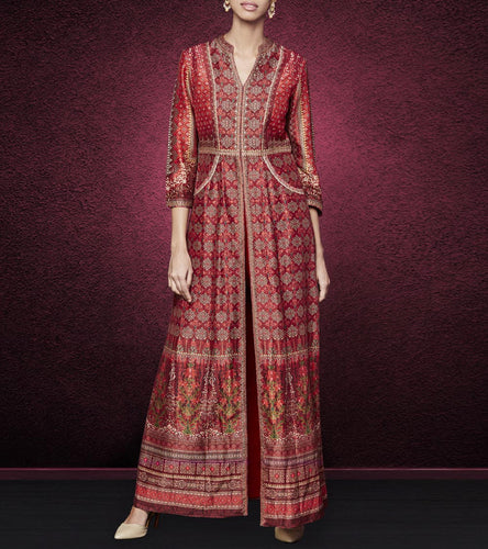 Red Silk Printed Anurakti Jacket