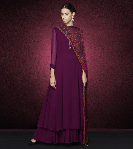 Wine Georgette Printed Vara Suit
