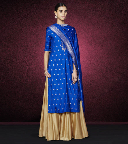 Blue Cotton Silk & Brocade Gota Patti Akhila Suit
