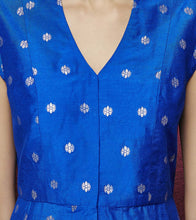 Blue Cotton Silk & Brocade Embroidered Kamagni Suit