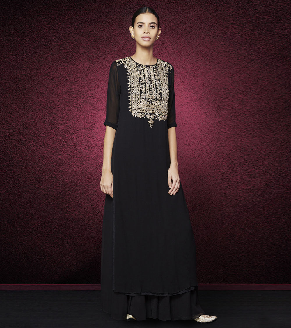Black Georgette Gota Patti Sagari Kurta & Sharara Set