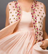 Baby Pink Net Pearl Embellished & Thread Work Maxi & Vest