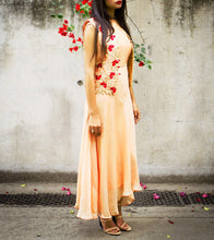 Peach Chiffon & Raw Silk Pearl & Thread Work Dress With Vest