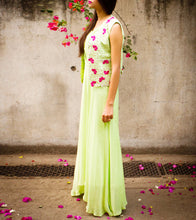 Green Flat Chiffon Thread Work Dress With Vest