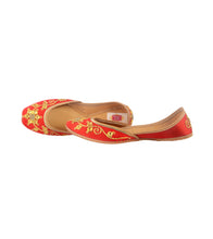 Red Leather & Satin Hand Embroidered Danka Work Jutti