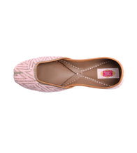 Baby Pink Leather & Satin Thread Work Jutti