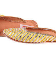 Yellow Leather & Satin Gota Work Jutti