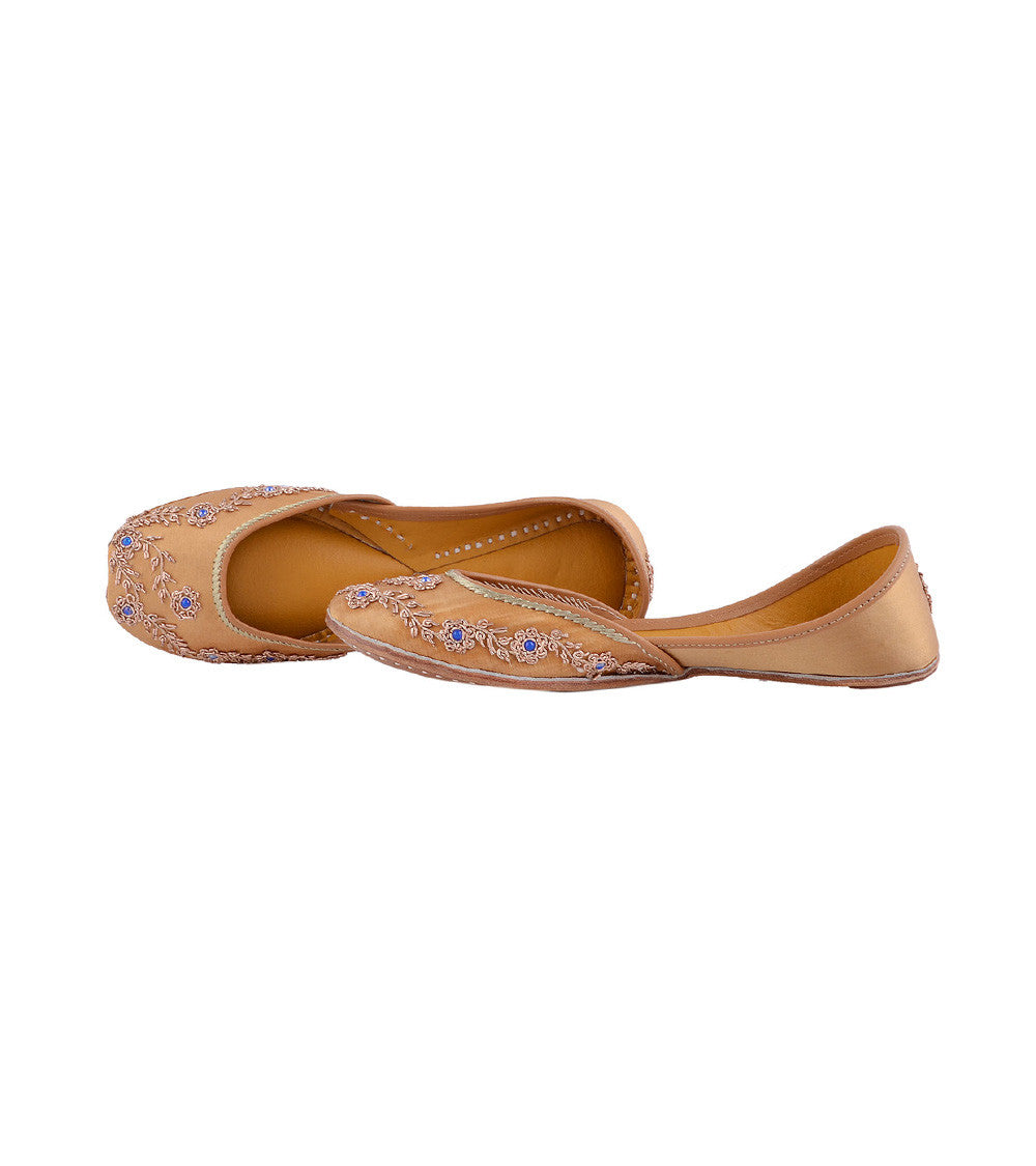 Copper Leather & Satin Dabka Jutti