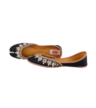 Black Leather & Satin Kundan Embellished Jutti