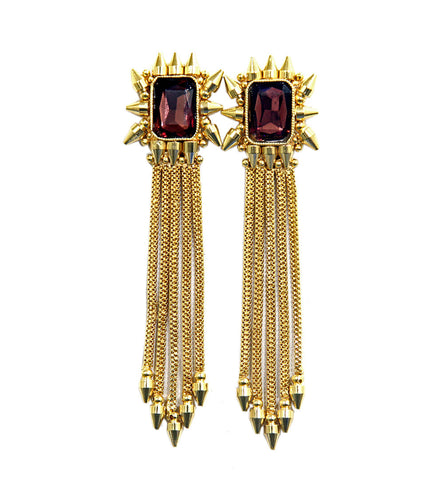 Red & Golden Brass Stone Embellished Earrings
