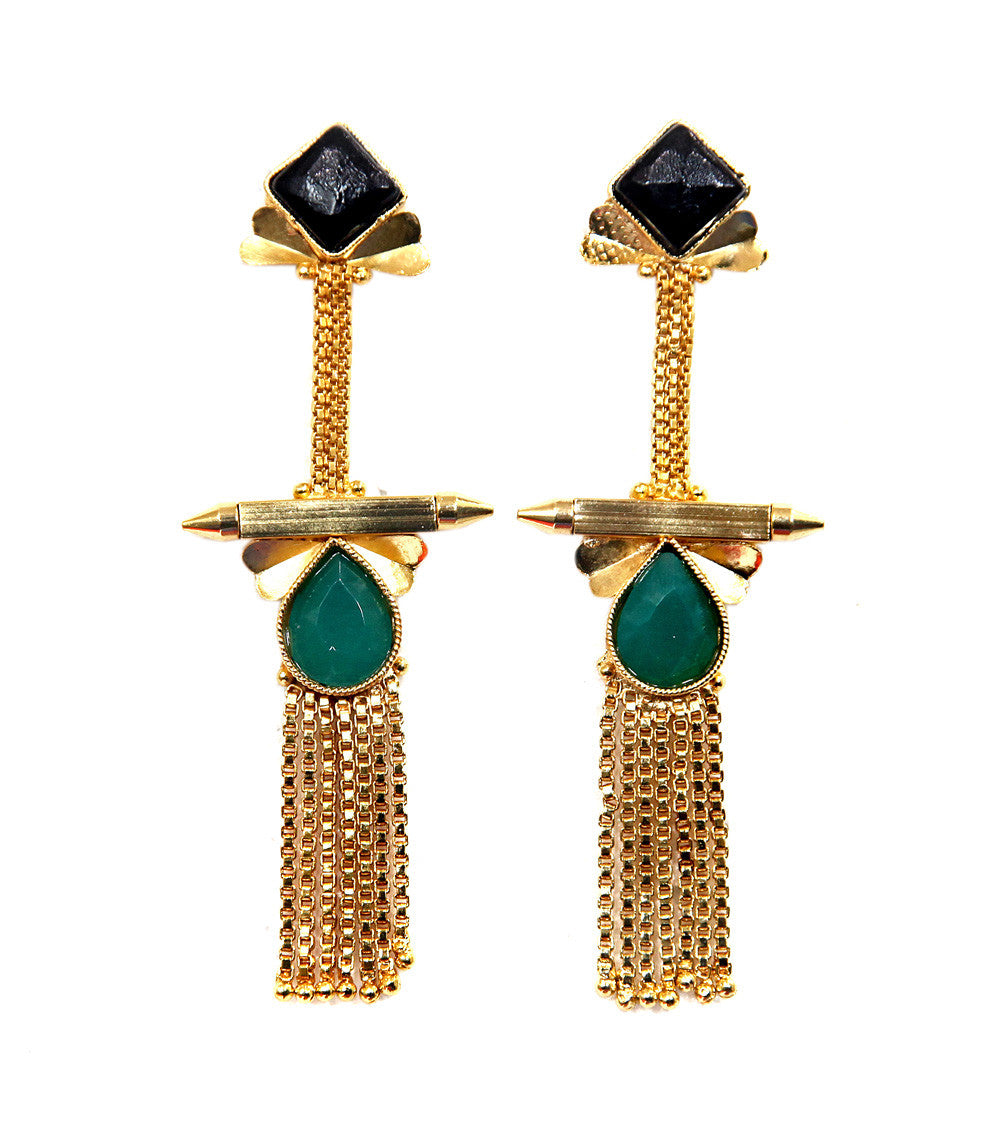 Black Brass Stone Embellished Earrings