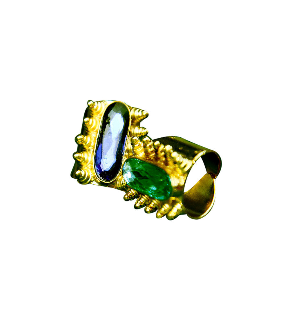 Blue Brass Stone Embellished Ring
