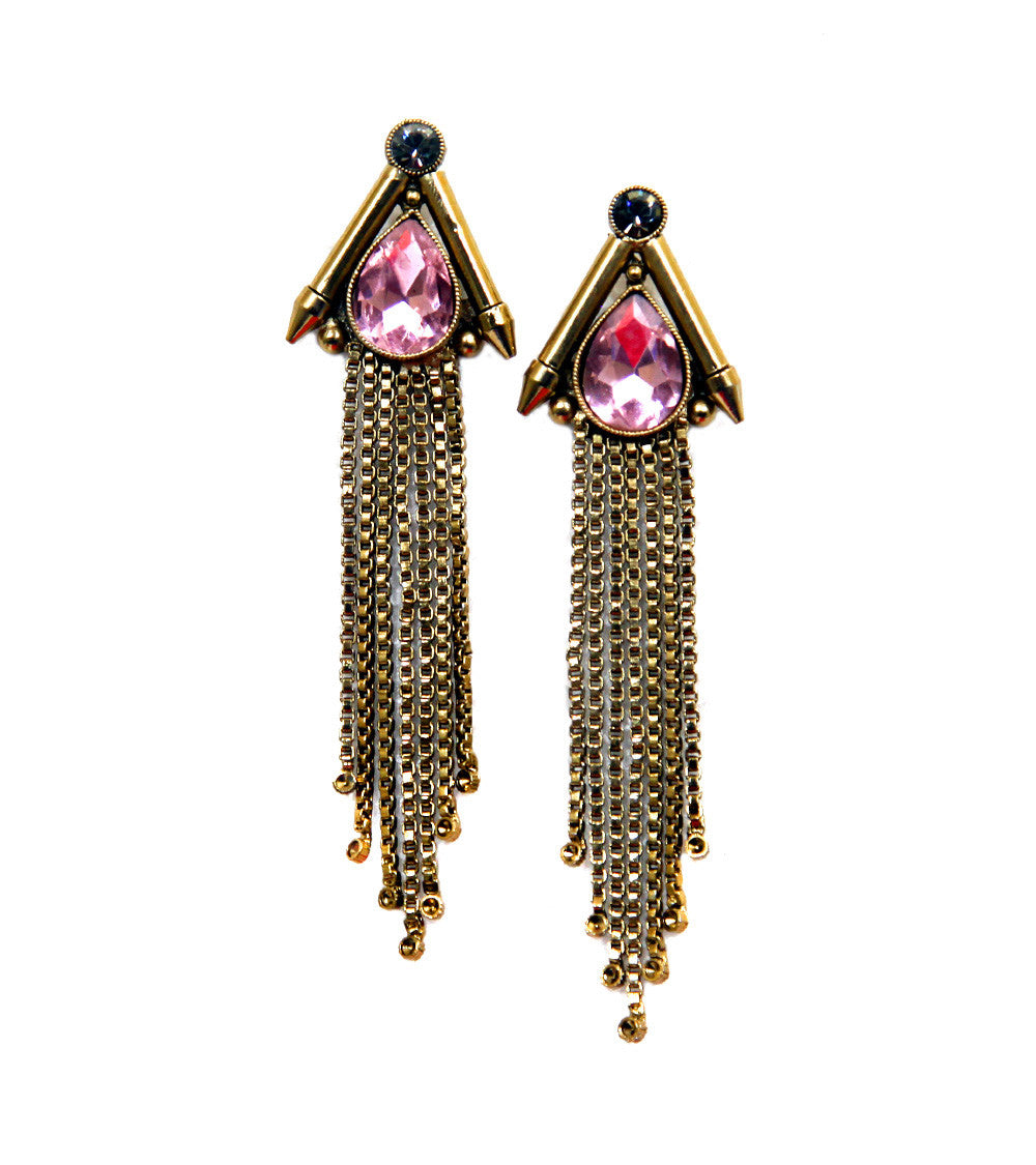 Pink Brass Stone Embellished Earrings