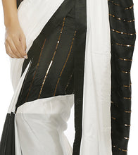 Black Silk Embroidered Saree with Unstitched Blouse Piece