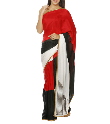 Red Silk Embroidered Saree with Unstitched Blouse Piece