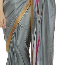 Grey Silk Embroidered Saree with Unstitched Blouse Piece