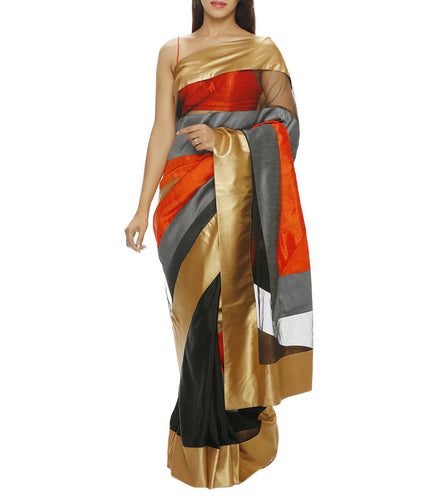 Black Silk Saree with Unstitched Blouse Piece