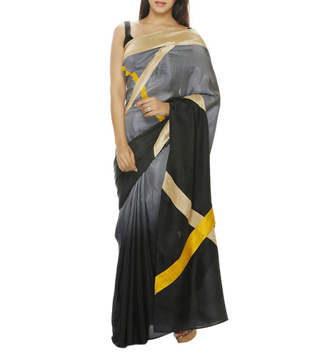 Grey Silk Patch Work Saree with Unstitched Blouse Piece