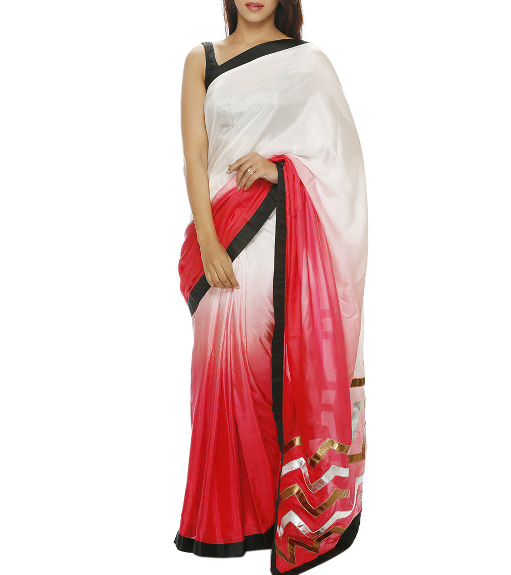 White Silk Patch Work Saree with Unstitched Blouse Piece