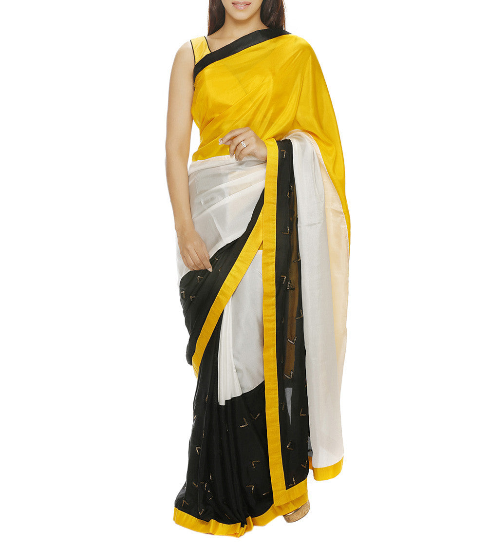 Yellow Silk Embroidered Saree with Unstitched Blouse Piece