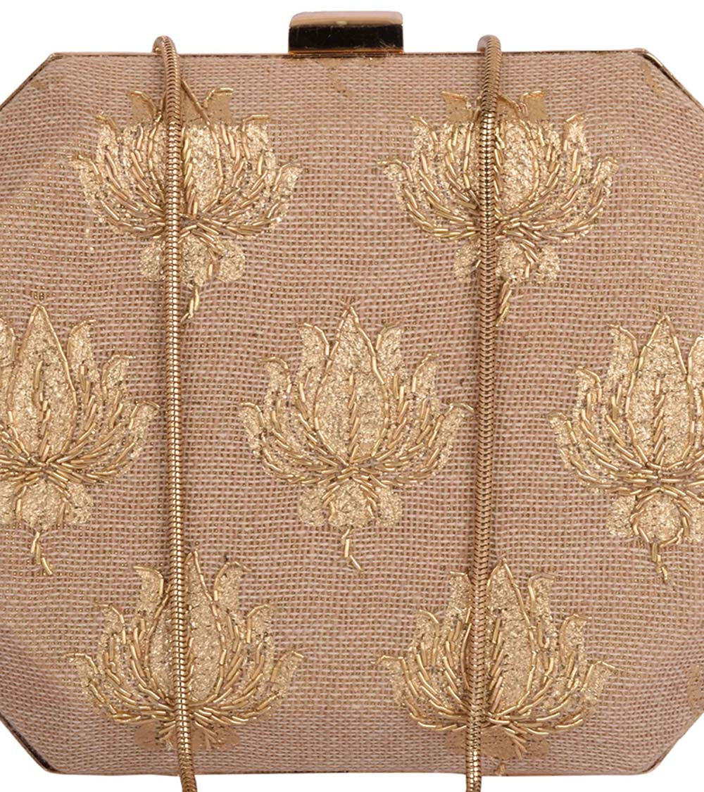 Golden Jute Embroidered Clutch