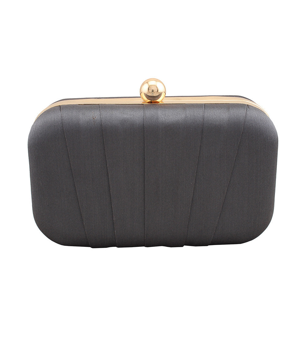 Grey Satin Pleated Clutch