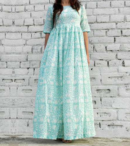 Mint Cotton Printed Maxi