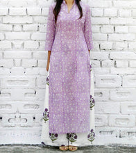 Lilac & White Cotton Printed Tunic And Palazzo Set