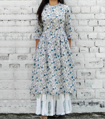 White & Blue Cotton Printed Maxi