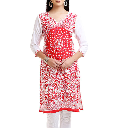 Red Cotton Mill Printed Kurti