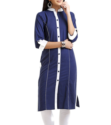 Blue Cotton Solid Kurti