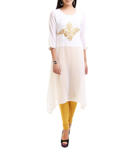Cream Georgette Zari Embroidered Kurti