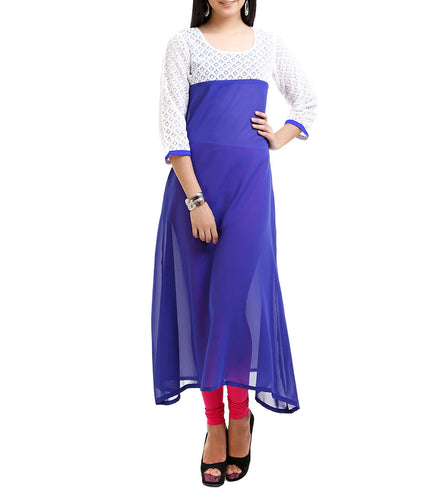 Blue Georgette Chiffly Work Kurti