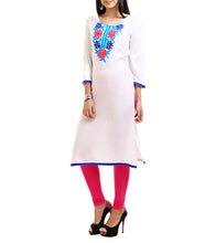 White Rayon Ari Embroidered Kurti