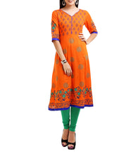 Orange Rayon Block Printed Kurti