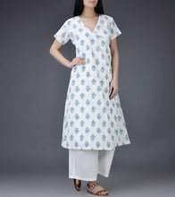 Ivory & Purple Mul & Cotton Block Printed Angrakha Kurti