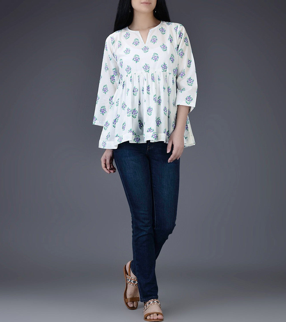 Ivory & Purple Mul & Cotton Block Printed Top