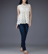 Ivory & Orange Mul & Cotton Block Printed Top