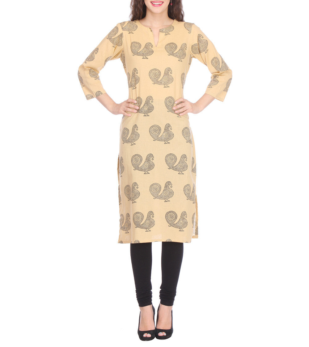 Beige Cotton Block Printed Kurti