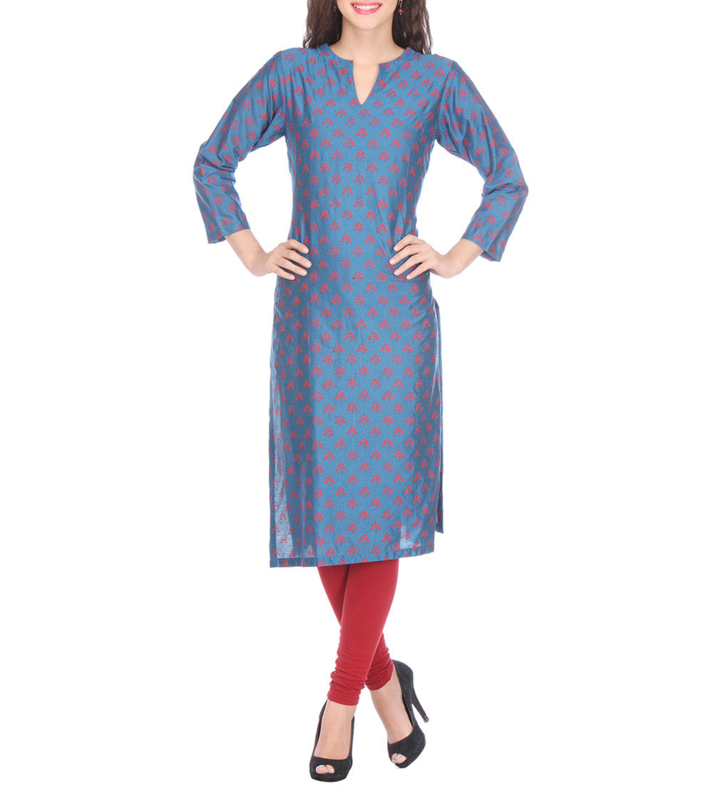 Grey Cotton Silk Block Printed Kurti