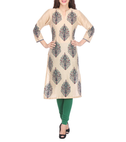 Beige Cotton Silk Block Printed Kurti