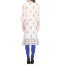 White Chanderi Block Printed Kurti