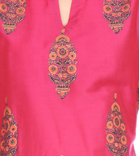 Red Cotton Silk Block Printed Kurti