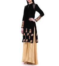 Black Velvet Sequined Velvet Kurta With Black Palazzos