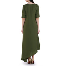 Green Georgette Solid Ovile Green Kurta Cum Dress