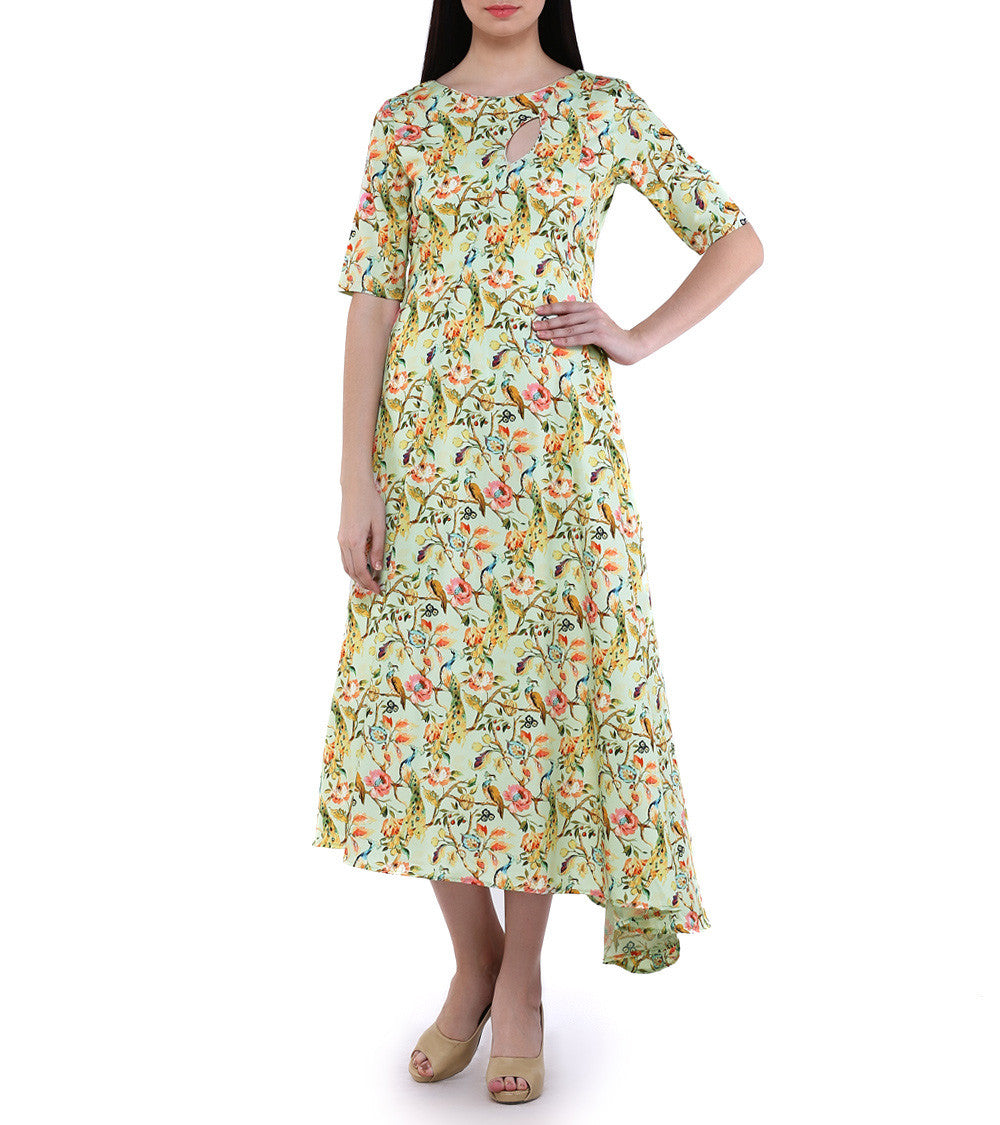 Yellow Crepe Printed Printed Kurta Cum Dress