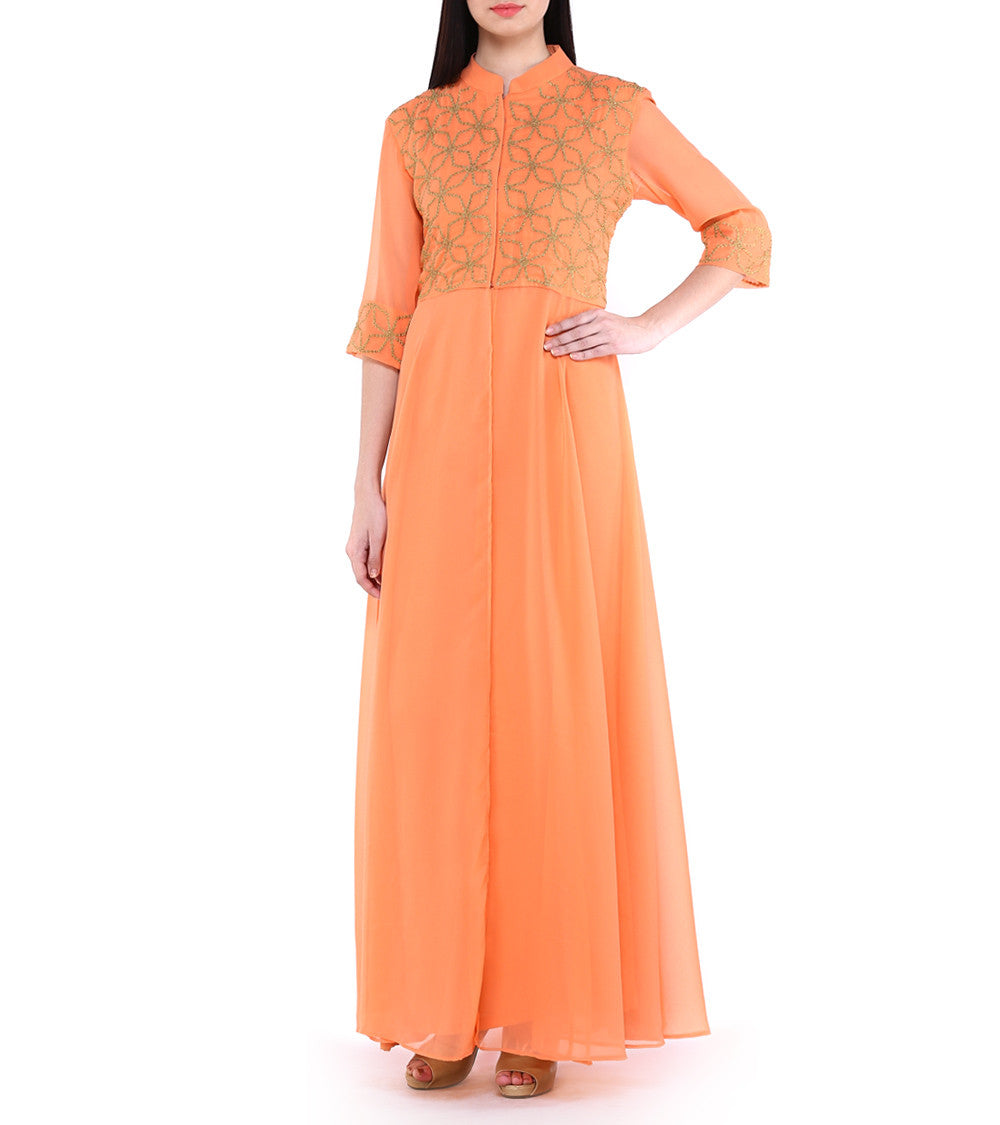 Orange Georgette Embroidered Cape With Golden Palazzo