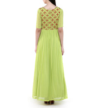 Green Georgette Embroidered Pleated Gown With Cutout